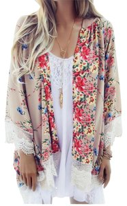Beach Boho Floral Kimono Cover Up Cardigan