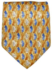 Ermenegildo Zegna Ermenegildo Zegna Yellow All Silk Designer Necktie Tie Made in Italy