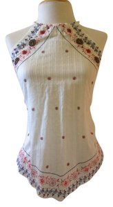 Guess Summer Boho Beaded 4th Of July white Halter Top