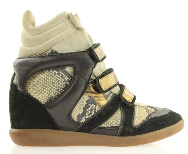 Item - Black Snakeskin Wedge Sneakers Size US 10 Regular (M, B)
