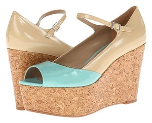 Paris Hilton Turquoise/Natural Patent Wedges