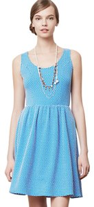 Anthropologie short dress BLUE Polka Dots Textured on Tradesy