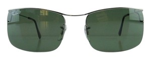 Ray-Ban New Ray-Ban Sunglasses RB 3499 004/9A Gunmetal Metal Rimless Polarized Gray Green Interchangeable Lens 58mm Made in Italy