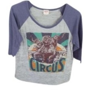 Mossimo Supply Co. Elbow Length And Has Circus Theme On T Shirt Gray Body-bluish sleeve with front design