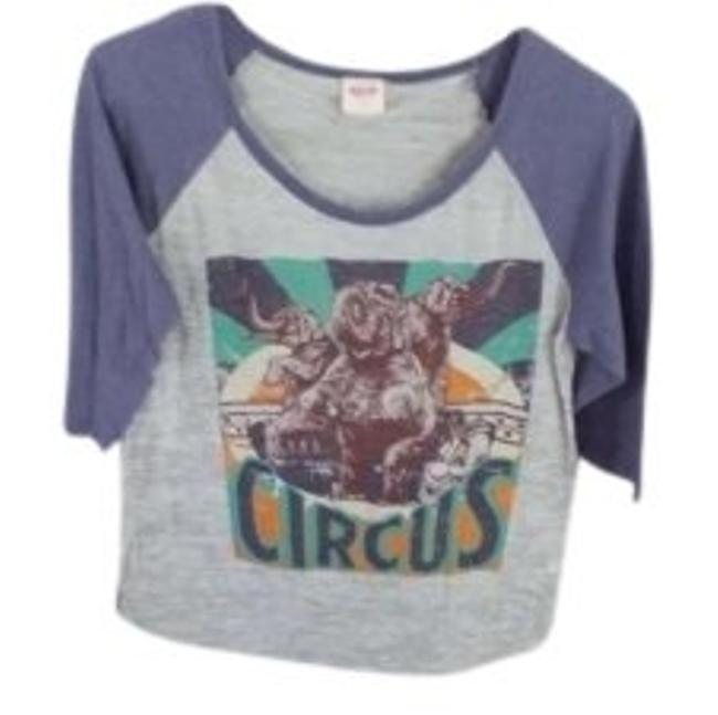 Preload https://item3.tradesy.com/images/mossimo-supply-co-gray-body-bluish-sleeve-with-front-design-elbow-length-and-has-circus-theme-on-tee-150232-0-0.jpg?width=400&height=650