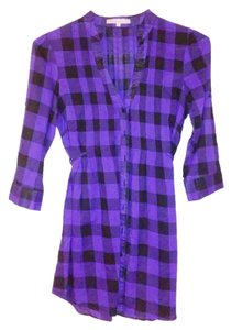 Charlotte Russe Checkered Tunic Cotton Button Down Shirt Purple Black