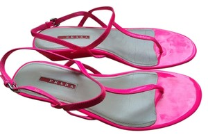 Prada Leather Wedge Dust Bag Pink Sandals