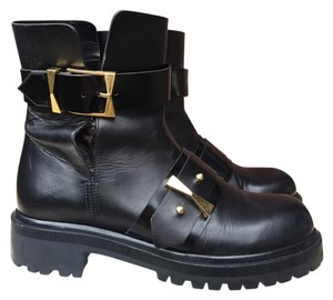 Alexander McQueen Leather Moto Black Boots
