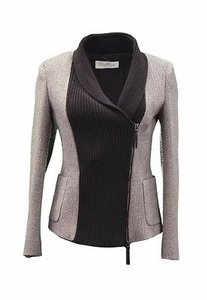 Max Mara Herringbone Knit Zip Brown Beige Jacket