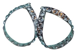 Other Giant silver metal oval hoop statement earrings huge trendy fashionably lucite rhinestone sparkling embellishment