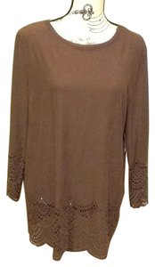 Basic Editions Scoopneck Lightweight Patterned Smooth Curved Hem Tunic