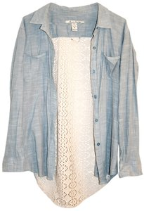American Rag Denim Boho Bohemian Chochet Denim Shirt Button Down Shirt Blue, Cream