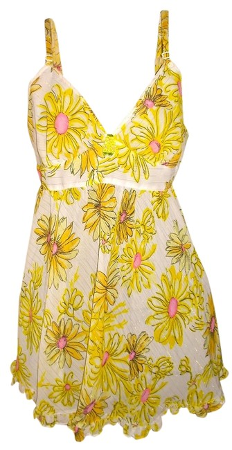 Item - Yellow/White/Pink/Black Intimates Floral Chemise Dress Small