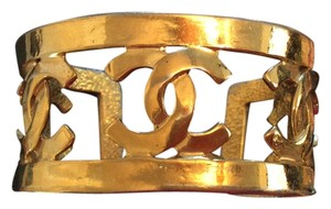 Chanel RARE VINTAGE CHANEL 18k GOLD PLATED '95P CC CUFF BRACELET