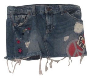 Victoria's Secret Vs Pink Mini Mini Skirt denim with embroidered flowers