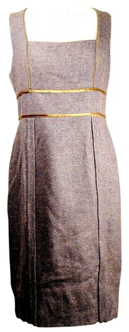 Item - Brown Multi Borwn and Blued Tweed Sleevless Msrp Mid-length Work/Office Dress Size 14 (L)