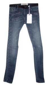 Etienne Marcel French Sold Out Moto Zippers Skinny Jeans-Medium Wash