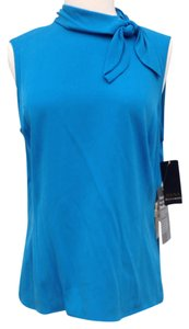 Dana Buchman Sleeveless Silk Top Navy Blue
