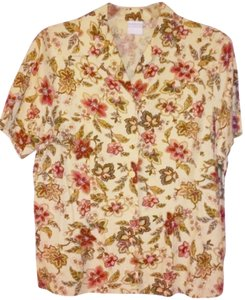 Jantzen Buttoned Floral Beige Button Down Shirt Brown Pink Green