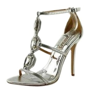 Badgley Mischka Crystal Embellished 6.5 Open Toe Silver Sandals
