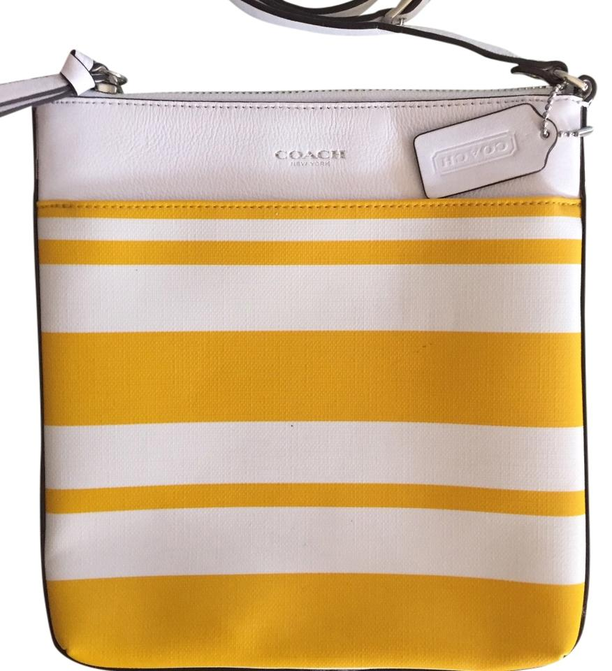 2f6b2ea07e Coach White Yellow Leather Cross Body Bag - Tradesy