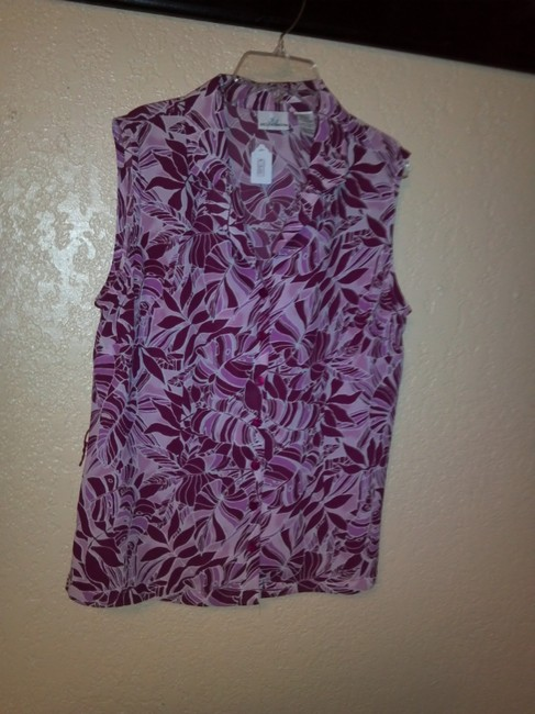 Jaclyn Smith Button Down Shirt white and purple