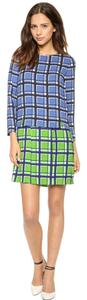 Marc Jacobs short dress Green Blue Toto Plaid Crepe Green on Tradesy