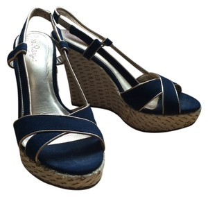 Lilly Pulitzer Slingback Espadrille Navy Blue Wedges