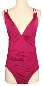 J.Crew J.CREW JERSEY LOMELLINA DEEP-V RUCHED ONE-PIECE SWIMSUIT SIZE 8 FRESH RASPBERRY