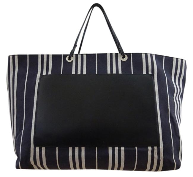 Item - Striped Canvas/Leather Navy/White/Black Canvas & Leather Weekend/Travel Bag