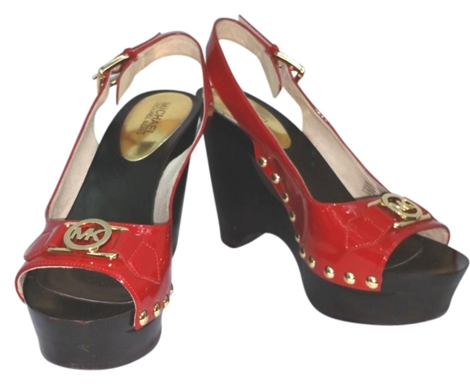 ee5df3c6c81 Michael Kors Red By Patent Leather Wooden M Wedges Size US 8.5 ...