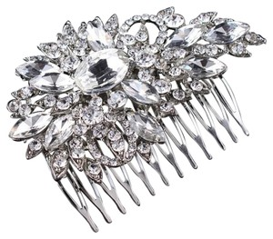 Crystal Hair Comb Barrette Crystals Bridal Crystal Wedding Floral Flower Clip Prom David