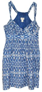 Ann Taylor LOFT short dress Blue Ikat Silk Cotton Summer Sleeveless on Tradesy