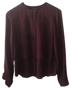 Theory Silk Button Down Top Maroon