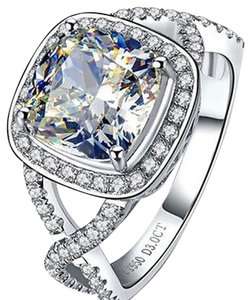 Sizes Size4 5 5.5 6 7 And 8 In Stock Ring Diamond Square Band Wedding Engagement Proposal Promise Bridal Girlfriend Wife