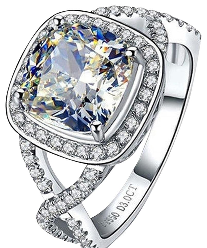 Sizes Size4 5 55 6 7 And 8 In Stock Diamond Square Band Engagement Proposal Promise Girlfriend Wife 3ct Vvs1 Cushion Ring