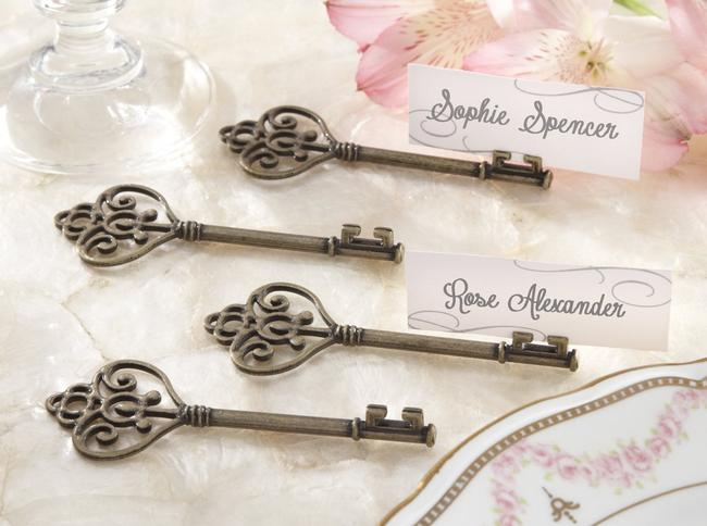 Item - Antique Gold/Bronze Victorian Style Key Place Card Holders By Tableware
