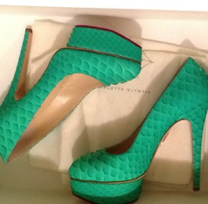 Charlotte Olympia Python Snakeskin Priscilla Green Pumps