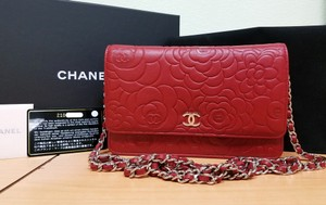Chanel Leather Designer Woc Camellia Wallet On Chain Cross Body Bag