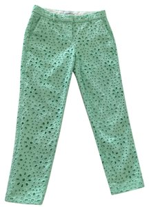 J.Crew Embroidered Capri Capri/Cropped Pants Mint Eyelet