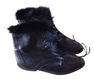 Saks Fifth Avenue Leather Rabbit Fur Black on Black Boots