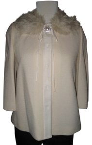 Rebecca Taylor Faux Fur Broach Grosgrain Swing Ivory Jacket