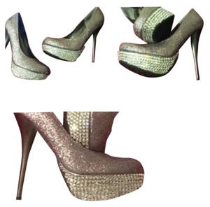 Fancy Girls Bling Glitter Silver & Bling Pumps