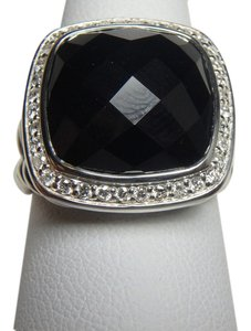 David Yurman 14mm Albion Ring with black Onyx and Diamonds