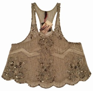 Urban Outfitters Sequin Embellished Top Gold