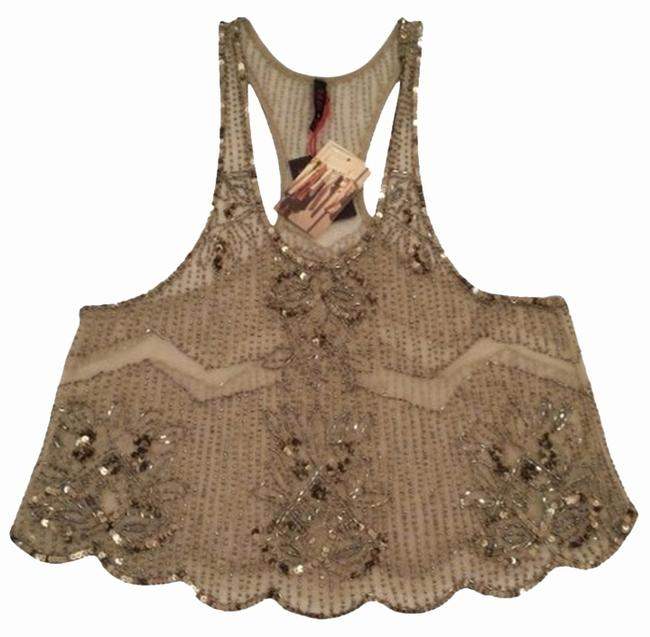 Urban Outfitters Sequin Embellished Date Top Gold