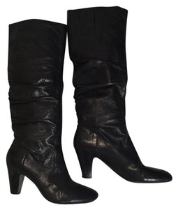 Nine West Riding Leather Leather Black Boots
