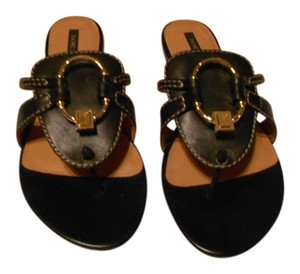 Rachel Zoe Chic Design Soft Leather Black Sandals