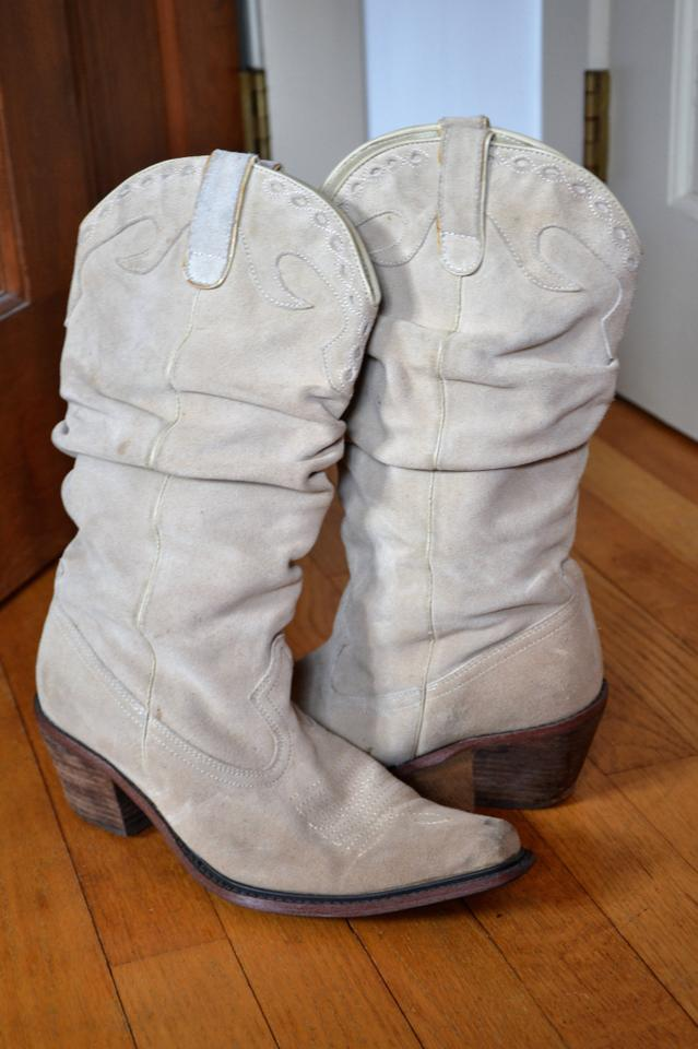 bda8ffed2a5 Steve Madden Light Tan Cowboy Suede Leather Boots Booties Size US ...