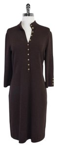 St. John Brown Knit Long Sleeve Shirt Dress